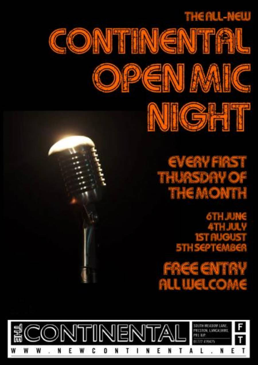 The Continental Open Mic Night - 8.30pm - 6/6/19