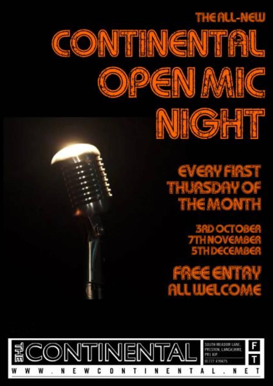 Continental Open Mic Night - 8.30pm - 3/10/19