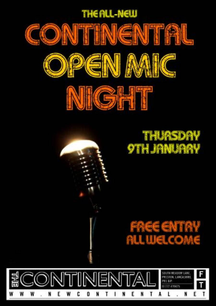 The All-New Continental Open Mic Night - 8.30pm - 9/01/20