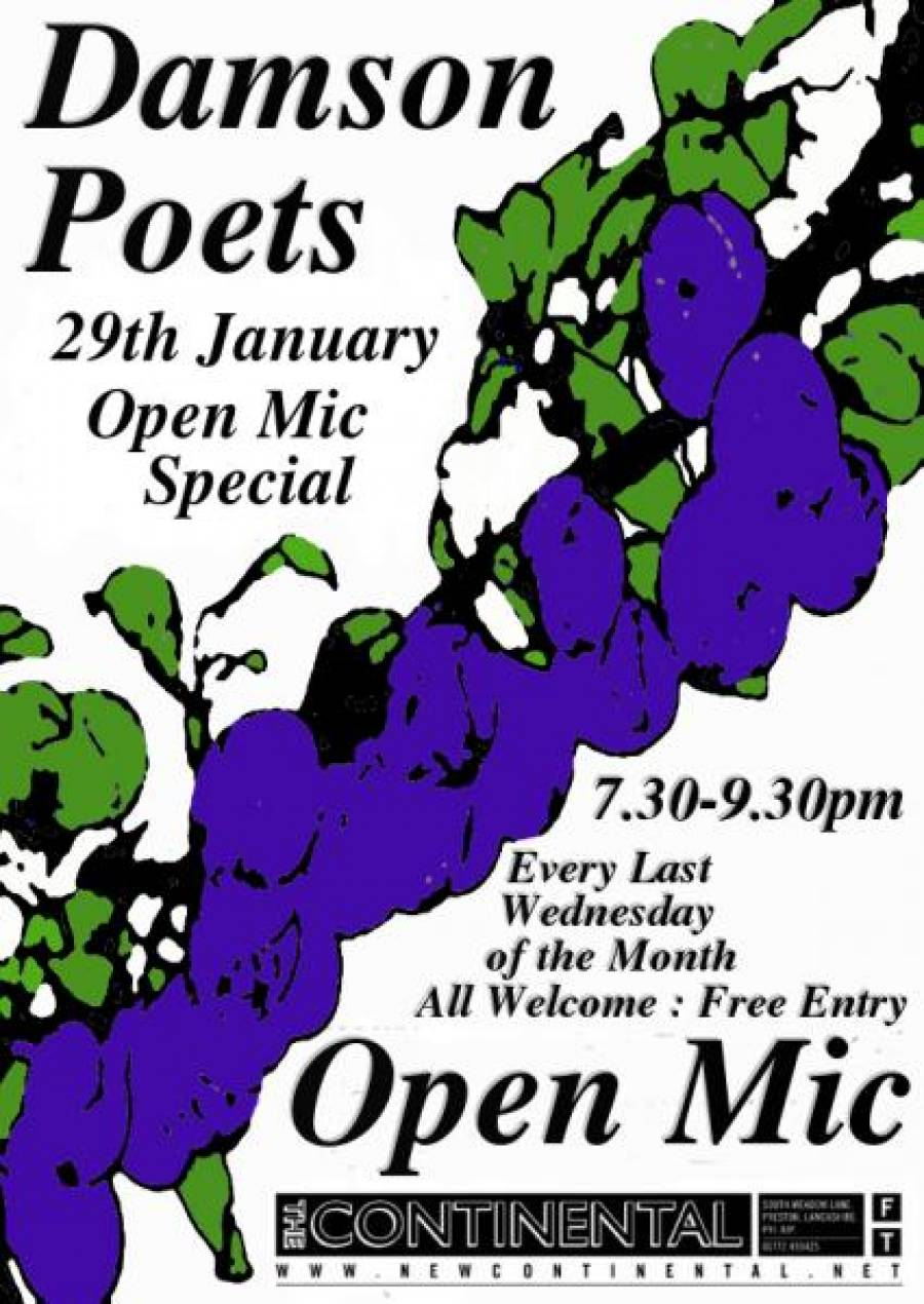 Damson Poets - The Continental - 7.30pm -9.30pm - 29/01/20