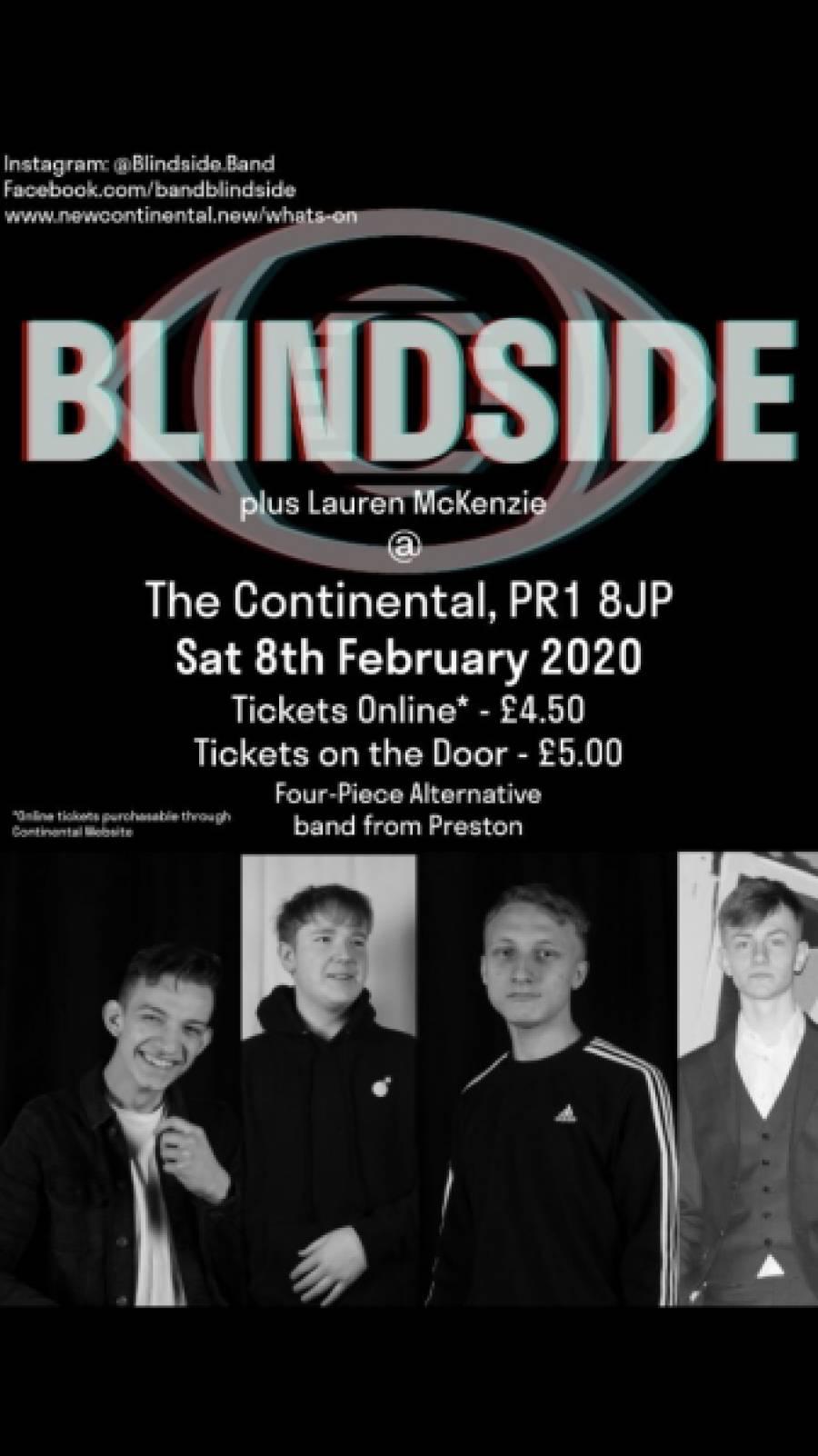 Blindside Plus Support - The Continental - Preston - 8pm - 8/02/20