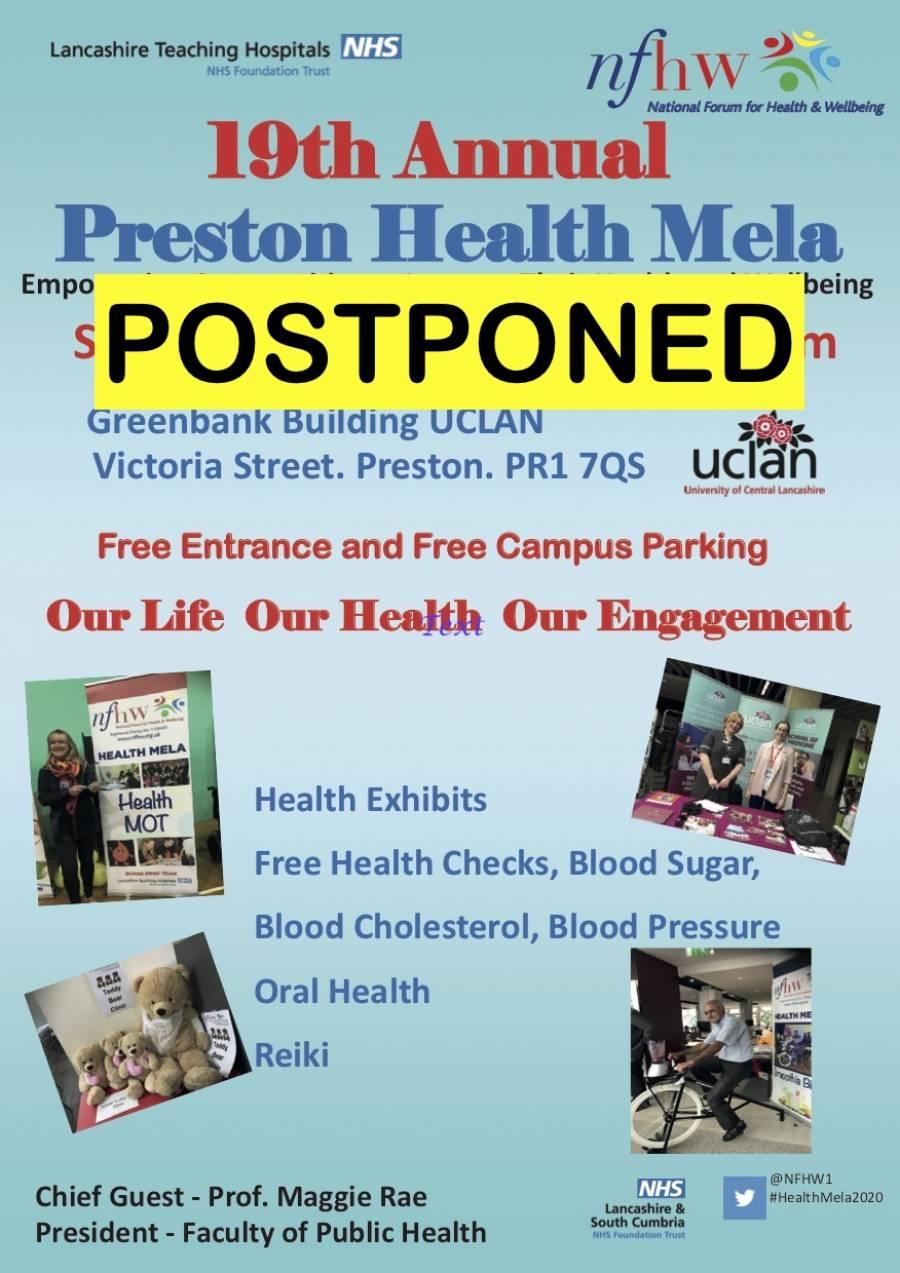Annual Preston Health Mela - Cancelled - In Response To Corona Virus