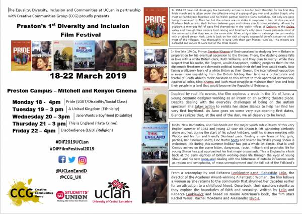 Preston\\\'s 1st Diversity And Inclusion Film Festival At UCLan