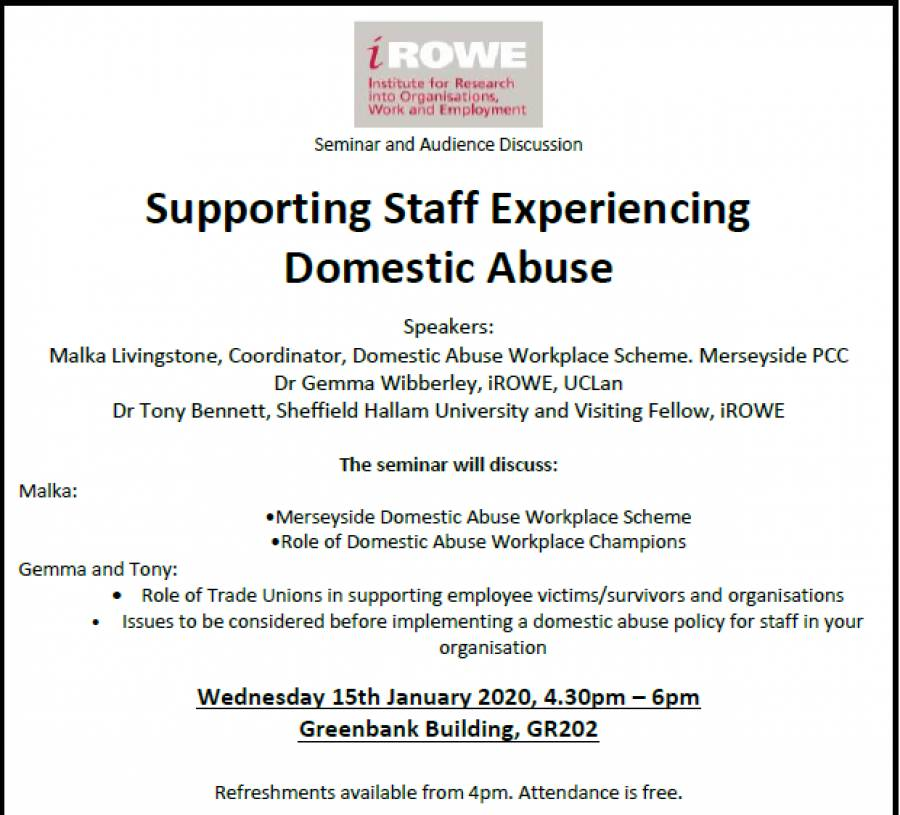 Supporting Staff Experiencing Domestic Abuse - Seminar And Audience Discussion