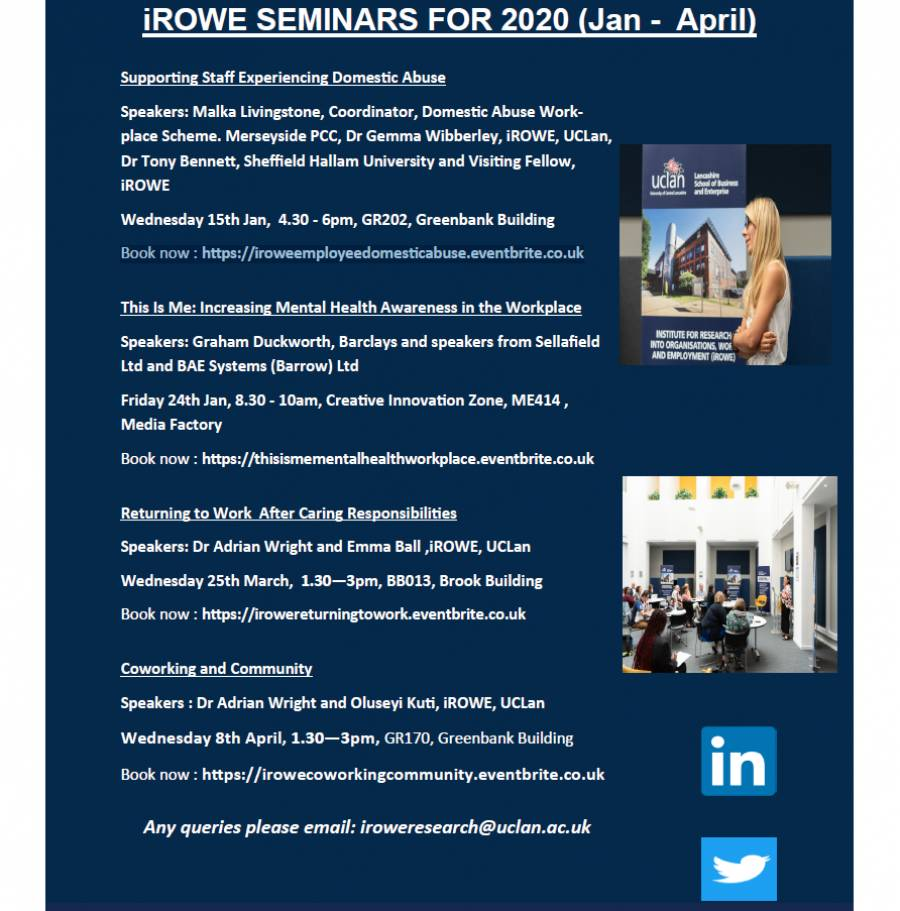 IROWE Seminars Jan - April 2020